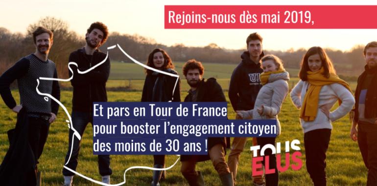 On recrute deux volontaires en service civique pour un tour de France citoyen.