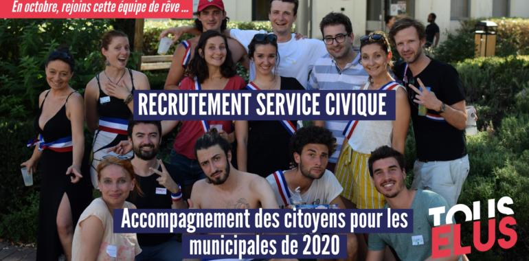 Recrutement : un service civique pour motiver puis soutenir les citoyens candidats aux élections locales de mars 2020 !